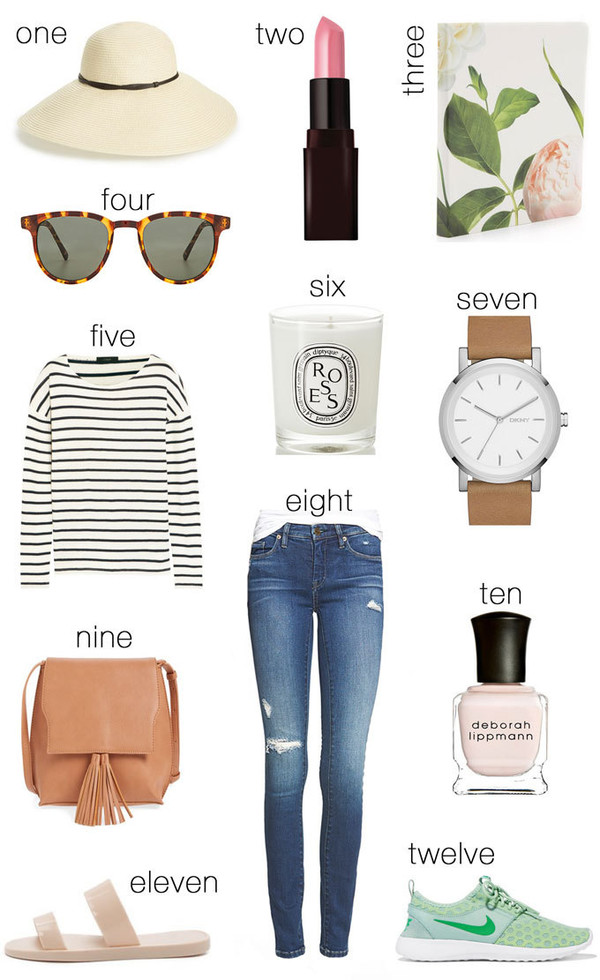 hello fashion blogger sun hat sunglasses lipstick striped shirt watch cropped jeans nail polish nike shoes mint sneakers pink bag backpack sandals candle