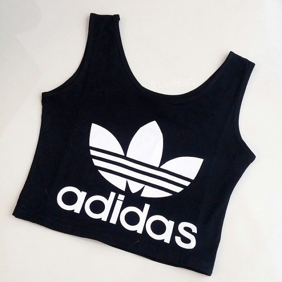 cute classic womens girls adidas crop top sports bra uk size 4 6 8 small 10 black. Black Bedroom Furniture Sets. Home Design Ideas