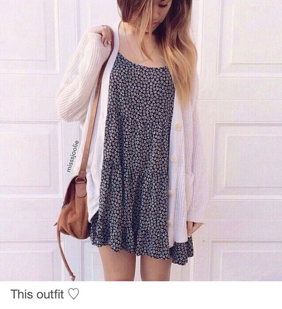 dress dress floral cardigan white spring