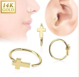 jewels tragus piercing jewelery golden jewlery jewelry cross earring earrings tragus gold gold jewelry