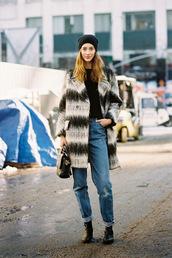 vanessa jackman,blogger,jeans,hipster,trendy,stripes,black and white,angora,coat