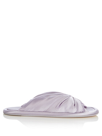 bow satin light purple shoes