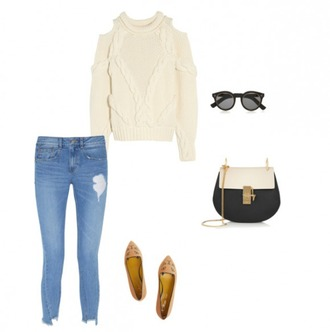 helena bordon blogger jeans cable knit knitted sweater sexy sweater flats