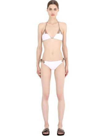 bikini triangle bikini triangle white beige red swimwear