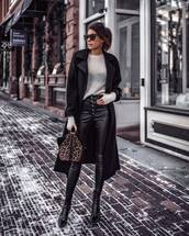sweater,white sweater,black leather pants,patent shoes,handbag,animal print,black coat,bag,leopard print,sunglasses