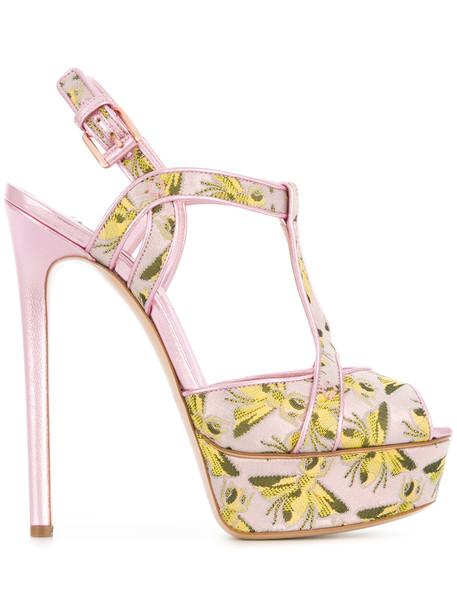 CASADEI women bee sandals platform sandals leather print purple pink shoes