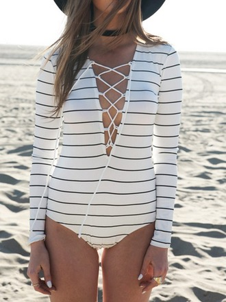 top bodysuit stripes lace up sexy summer long sleeves mns