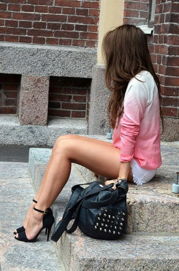 sweater ombre shirt pink top shoes bag