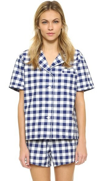 shirt navy gingham top