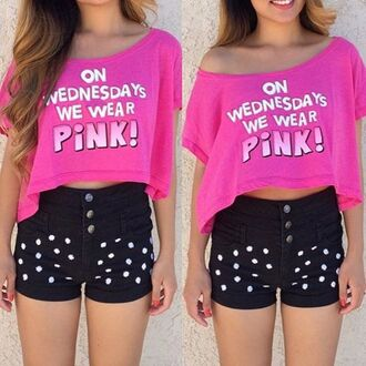 top jazrox hipster style girly quote on it crop tops crop pink mean girls mean girls shirt regina george on wednesdays we wear pink neon cute tumblr girl cool fashion summer dope pretty trendy short beach pastel beautiful urban streetwear lookbook swag hot kawaii spring love