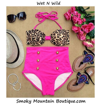 swimwear leopard print high waisted pink sexy cute high waisted bikini
