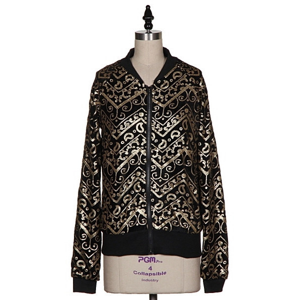 jacket gold baroque sequins makeup table vanity row dress to kill black bomber jacket