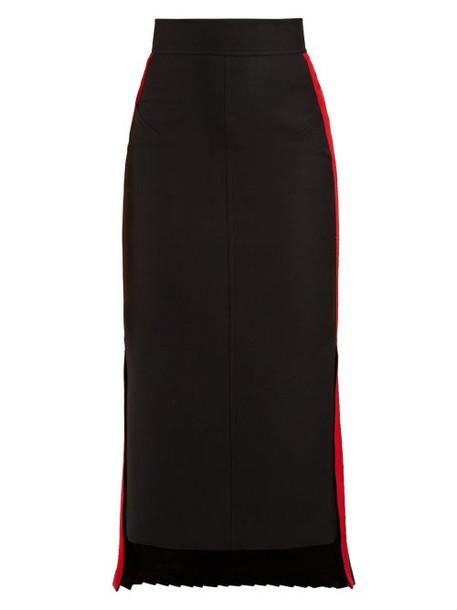 Alexander Mcqueen - Tailored Wool Blend Pencil Skirt - Womens - Black Red
