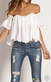 top,off the shoulder,white