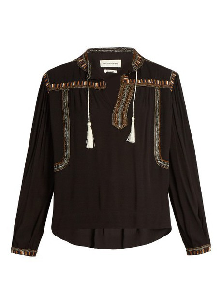 Isabel Marant etoile top embroidered black