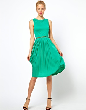 ASOS Sleeveless Midi Dress With Pleated Skirt And Belt at ASOS