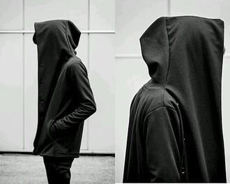 coat hoodie black big hood