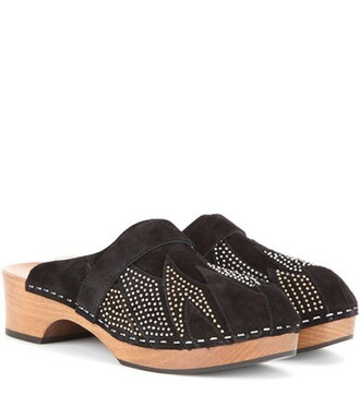 clogs studded suede black shoes