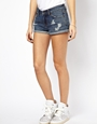 ASOS | ASOS Low Rise Denim Shorts in Indigo with Rips at ASOS