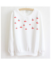 wow,cherry,sweater,pullover,hoodie,cotton