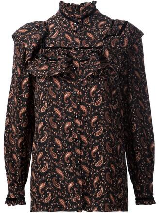 blouse ruffle print paisley black top