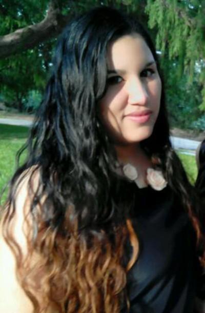 blouse black black blouse flower necklace flowers garden long hair beautiful hair karen aguilera make-up