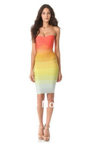 2013 newest design hl top grade off shoulder colourful rainbow color bandage dress factory dropshipping good quality best price