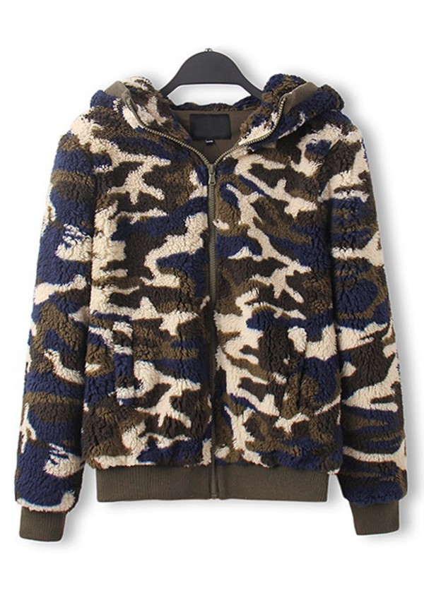 coat camouflage shearling cara delevingne