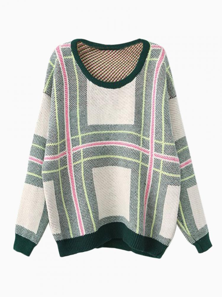 Stripe Plaid Jumper With Contrast Green Trim | Choies