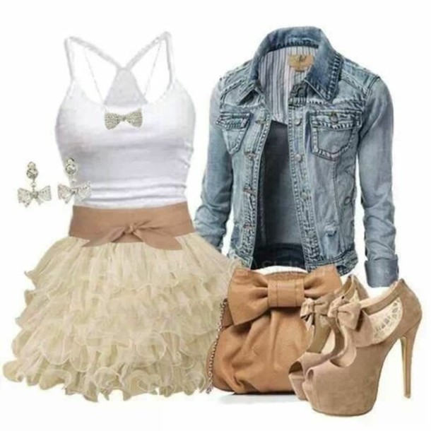 dress cute dress bag shoes jewels shirt skirt denim jacket high heels jacket clothes white spaghetti strap tan bow belt