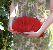 bag,red,clutch,shell,glitter,evening outfits,vintage inspired,50s style