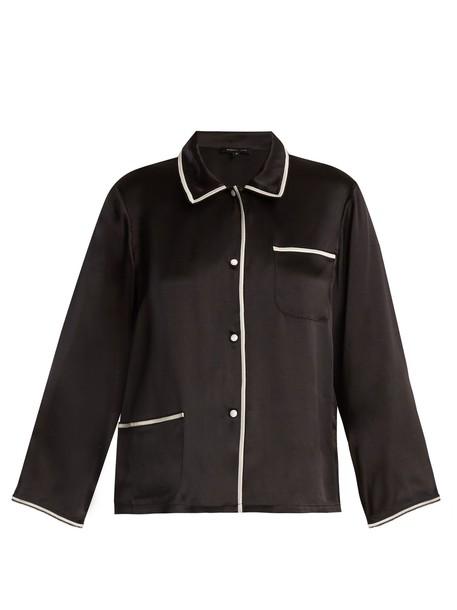 MORGAN LANE shirt silk black top