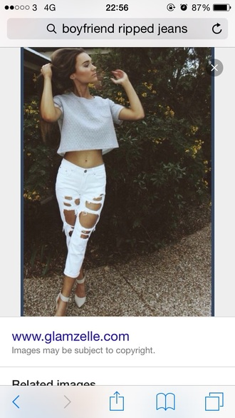 jeans boyfriend jeans white ripped jeans