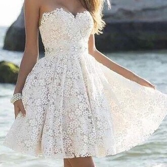 dress floral formal cute white lace