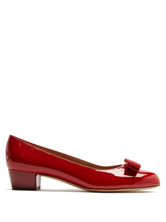 pumps leather red shoes
