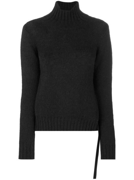 DONDUP jumper high women slit high neck cotton black sweater