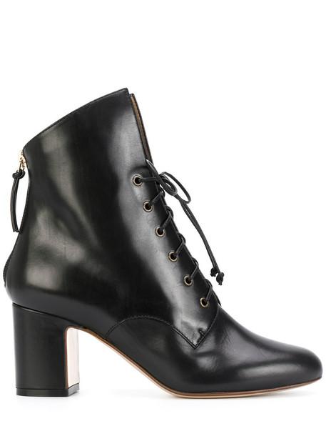 Francesco Russo women lace leather black shoes