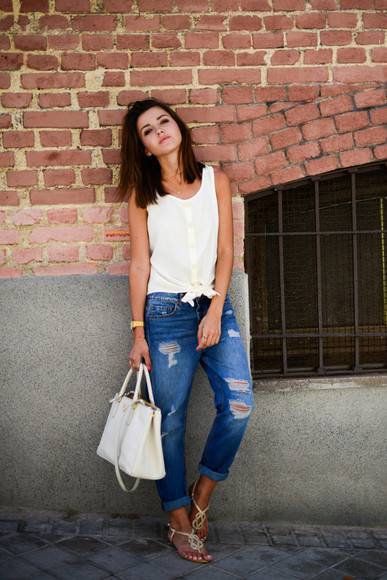 lovely pepa top shoes jewels jeans bag ripped jeans