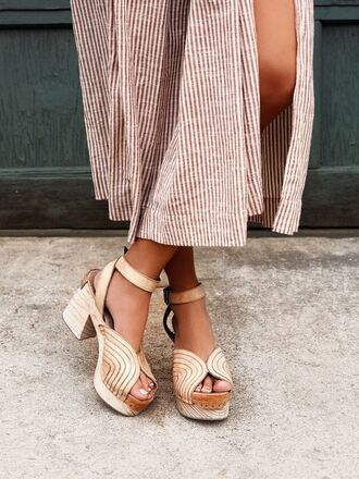 shoes slit skirt slit maxi skirt slit maxi skirt stripes striped skirt thick heel summer shoes nude shoes