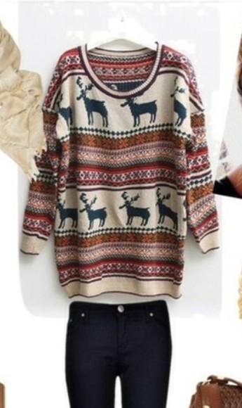 sweater jumper oversized sweater christmas christmas sweater