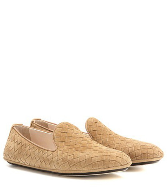 Bottega Veneta loafers suede beige shoes
