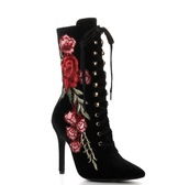 shoes,black,velvet,rose,embroidered,heels