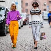 pants,wide-leg pants,yellow pants,blouse,sunglasses,knitwear,silk