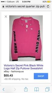 sweater,victoria's secret,pink by victorias secret,pullover,quarter zip,pink