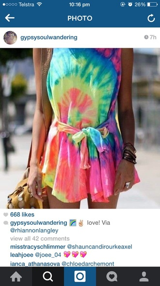dress rainbow tiedye playsuitt