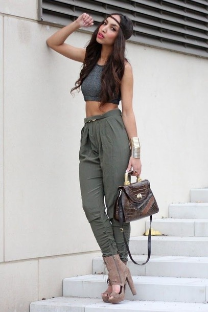 Pants: green, high waisted pants, shirt, shoes, bag, inspiration ...