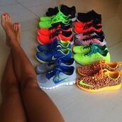 shoes,nike,nike free run,orange,leapardprint,leapard nike,roshe runs,nikes,neon,lime green nike sign,yellow,leopard print,nike running shoes