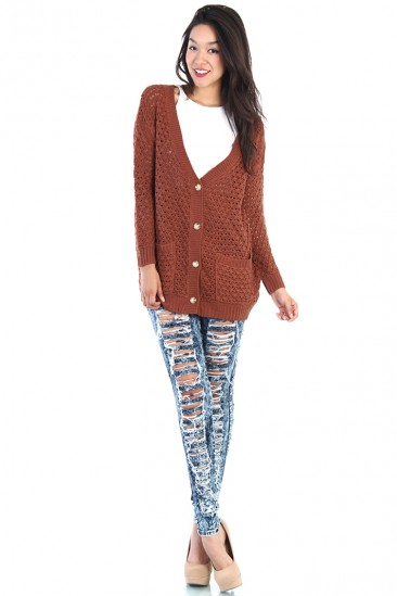 OMG Button Up Knit Cardigan - Orange