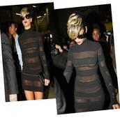 dress,black dress,rihanna,sheer
