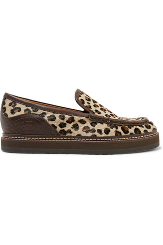 hair loafers leather print leopard print shoes